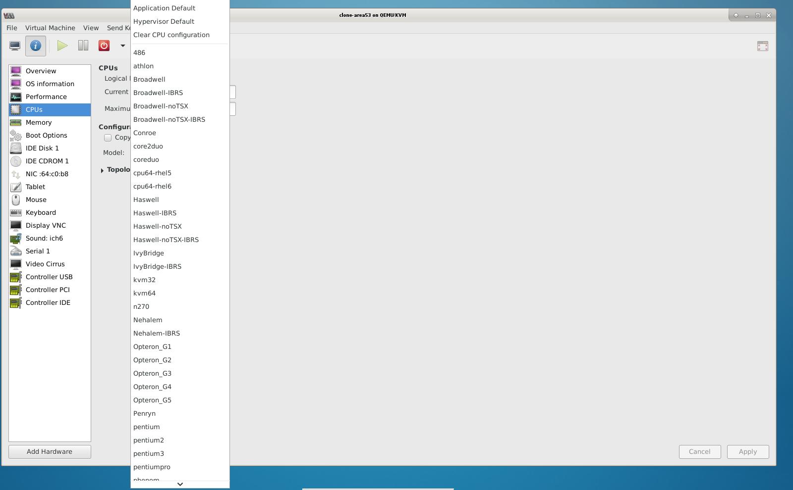 virtual-manager cpu list